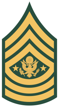 Rank badge of a Sergeant Major of the Army